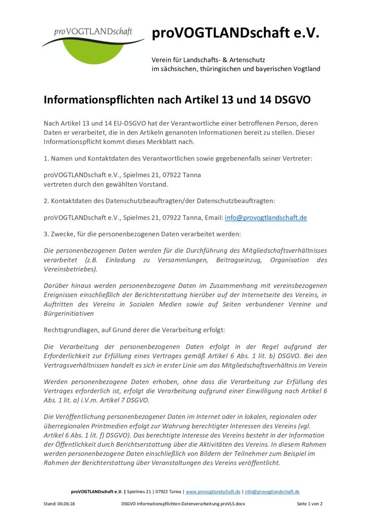 thumbnail of DSGVO Informationspflichten Datenverarbeitung proVLS